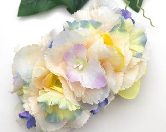 Handmade Light Peach & Pastel Hydrangea Cluster Hair Flower Clip