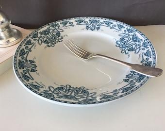 French antique ironstone blue/green transferware plate - Large plate - Transferware dish -