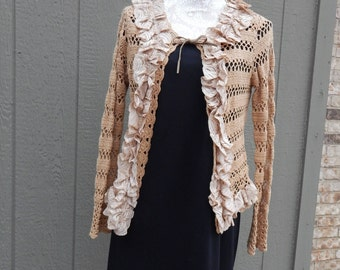 Altered Women's Tea-Dyed Sweater, Altered Couture- Extra Large, Tea-Dyed Ruffled Lace Trim Surrounding, Shabby Chic, Romantic, BoHo Sweater