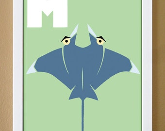 alphabet letter M, manta ray, custom colors, children's letter print, nursery art, undersea nursery, 4X6, 5X7, 8X10
