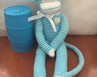 Sock Monkey Aqua and White Medium