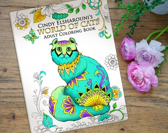 Adult Coloring Book Cats. 42 Beautifully Hand Drawn Coloring Pages. On Sale