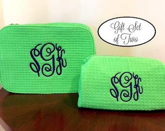 Personalized Cosmetic Bag Gift Set - Monogrammed Cosmetic Cases - Monogram Make Up Bag Set - Bridesmaids Makeup Bags - Two Cosmetic Bags
