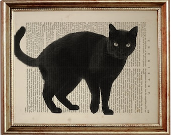 Black Cat Art, Black Cat Print, Black Cat Gifts, Black Cat Art Print, Upcycled Pages, Vintage Print, Dictionary Art Print, Book Page, Gift