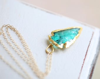 Arrowhead Necklace, Green Glass Arrowhead Necklace, Layering Necklace,  Boho jewelry | Bohemian Necklace | Long Large Pendant Necklace
