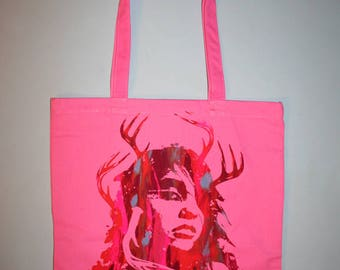 small business sat, hand silkscreened tote, unique gift, multicolor print, shaman girl tote, pink bag, art on tote, one of a kind