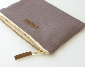 Sparkling Taupe Linen Pouch - Water resistant Linen Minimalist Zipper Pouch - Organizer bag - Carry all pouch