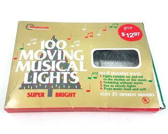 Vtg Woolworth 100 Moving Musical Christmas Lights Strand White Clear  Twinkling