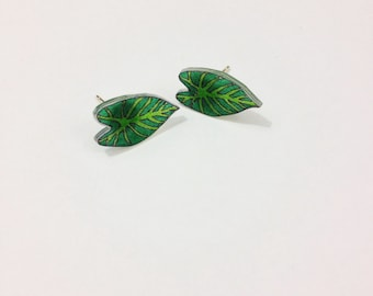 Tropical Leaves Tropical Leaf Palm Leaf Ear Studs Post Earrings Stud Earrings Heart Leaf Lilly Pad Tropical Plant Botanical Garden Monstera