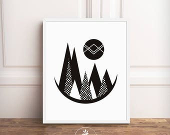 Mountains, Instant Download, Minimalist, Modern, black and white, Polkadots, gallery wall,  printable poster, by Faboomie