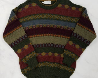 Vintage Italian Wool Blend Geometric Brown Gray Red Cosby Sweater, Mens Medium