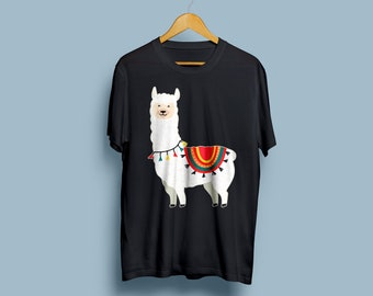 Funny Llama Shirt Alpaca Shirt Llama & Alpaca Lover Gift Cute Cartoon Animal Art Cute Shirt Unisex Tee Graphic Tee Animal Shirt TU1131