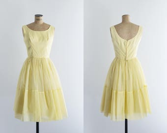 Vintage 50s Yellow Prom Dress - Ladies Fashion 1950s - Lemon Sorbet Dress