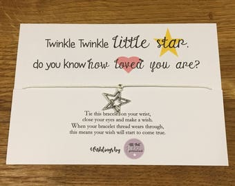 Personalised Wish Bracelet Inspirational Quote Twinkle Twinkle Baby Daughter Son Family Love Birthday Gift