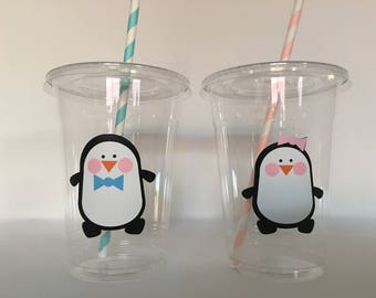 Penguin party cups, Penguin Birthday Party cups, Penguin Party favors, Winter party, Winter Birthday Party