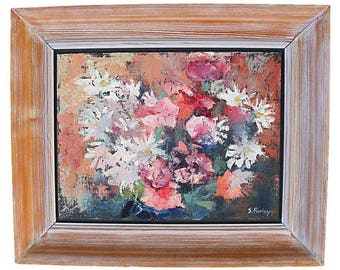 Simon Pooley Original Oil Painting - Still Life Of Chrysanthemums Flowers (Cornish Art)