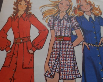Vintage 1970's McCall's 3047 Dress, Pants or Shorts Sewing Pattern Size 12 Bust 34
