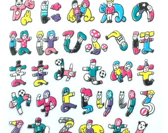Japanese Stickers - Hiragana Stickers - Colorful Hiragana Characters and Cute People  (S154)