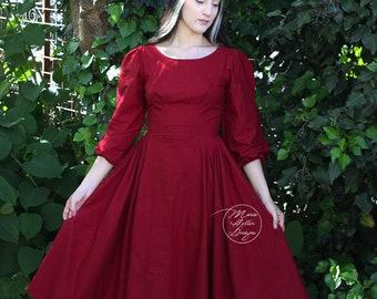 Red Dress, Retro Dress, Vintage Dress, Red Retro Dress, 50s Dress, Day Dress, Summer Dress, Cotton, Pleated, Vintage Red Dress, Mid Length