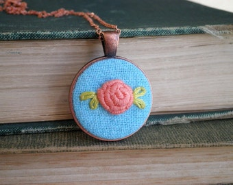 Peach Rose Necklace - Flower Embroidery Necklace - Embroidered Necklace - Pastel Peach Rose Fiber Art Nature Jewelry Floral Rosette Gift