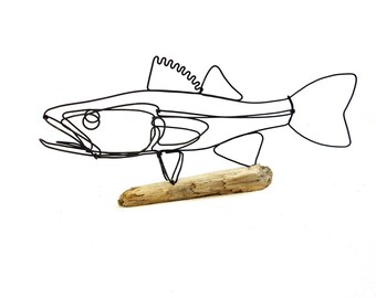 Walleye Wire Sculpture, Fish Wire Art, Minimal Wire Design, 551112670