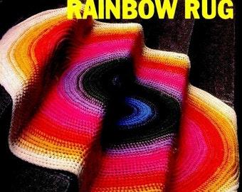 Vintage 70's Crochet Floor Rug - PDF Crochet Pattern - Home Decor - Digital Pattern - Instant Download