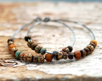 Bohemian Earrings, Sterling Silver Hoops, Hoop Earrings, Boho Hoops, Boho Chic, Copper Brown, Earthtones, Tribal Earrings, Oxidized Silver