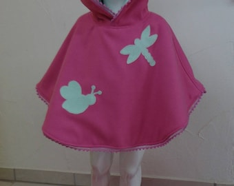 Adorable Poncho in Mlifa fleece lining with applications