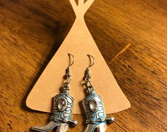 Silver and turquoise boot earrings
