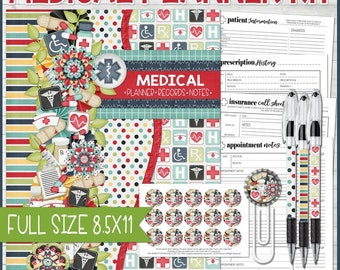 MEDICAL Planner, Patient Notebook, Planning Kit, Diabetic Blood Sugar, Cancer Patient, Planner Inserts, Full Size 8.5x11 - Instant Download