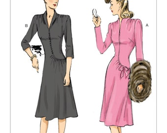 6374, Butterick, Misses' Swan-Neck or Shawl Collar Dresses with Asymmetrical Gathers, Vintage Style, Retro 44, 40's style dress, Retro style