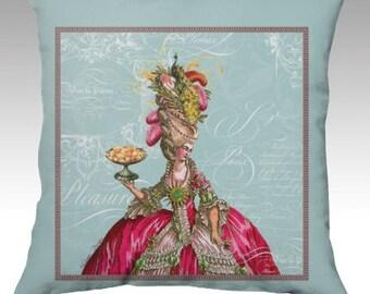Marie Antoinette Let Them Eat Cake Velveteen Velvet Pillow Cover Throw Accent