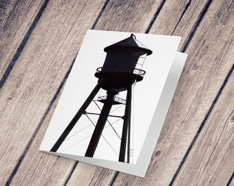 Wish card: Illustration reproduction painted in black ink, Water Tower