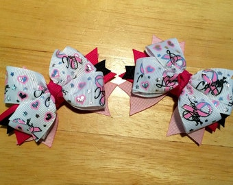 """Breast Cancer Awareness Hair Bow Set of 2 - 3.25"""" Handmade Foil Ribbon Stacked Boutique Pinwheel Hair Bows on Partially Lined No Slip Clips"""