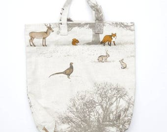Country scene pattern shopper bag. Shopping bag. Fold-able bag