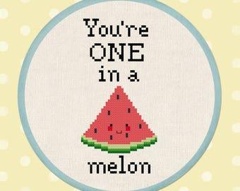 You're ONE in a melon Cross Stitch Pattern.  Watermelon Fruit Slice Pun Modern Simple Cute Cross Stitch Pattern. PDF File. Instant Download