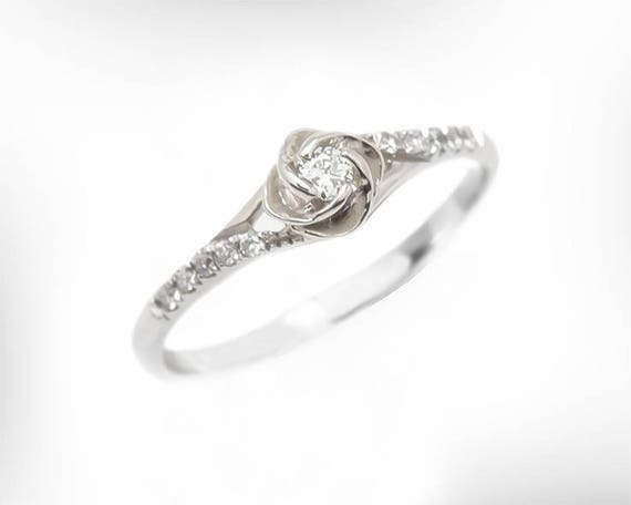 Vintage Engagement Ring 14K 18K White Gold Diamond