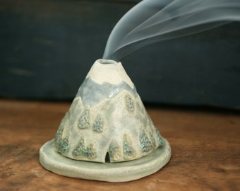 Mountains Incense Burner Holder, Smoky Mountains, Ozark, Handmade Ceramic, Unique Bohemian Gift, Meditation Altar