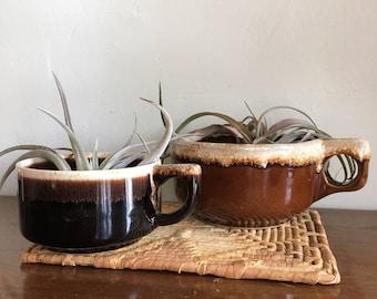 Set of 2 Vintage Stoneware Mugs