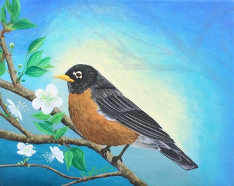 Original Robin Painting/Canvas painting