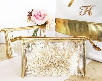 Bridesmaid Make Up Bags - Gold Cosmetic Bag - Bridesmaid Gift, Wedding, Bridal Party
