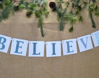 BELIEVE Banner ... Christmas Banner ... Christmas Decor ... Chipboard Banner ... Celebration ... Christmas ...