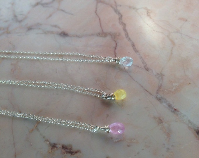 Your Choice of Delicate Sapphire Necklace in Pink, Blue or Yellow Dainty Special Bridesmaid Birthstone