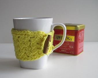 Crochet Mug Cup Cozy - Lemon Yellow with Wood Toggle Button