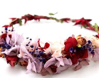 Flower,dried,hydrangea,preserved,crown,wreath,halo,mauve,burgundy,marsala, rose,boho,chic,rose,pink,flower crown