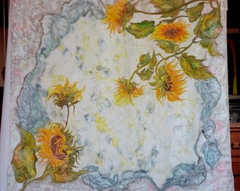 Hand painted silk scarf sunflowers