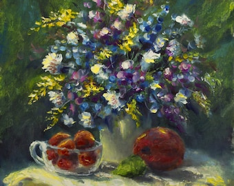 Sunny flowers table - Original Oil Painting by Valery Rybakow Palette Knife Still life Contemporary Impressionist Art