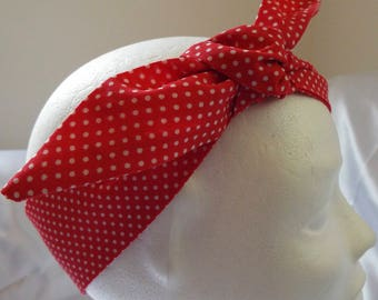 Red and white small spot adult head band hair wrap scarf bandana headwrap