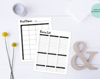 Meal Planner & Grocery List Printable | Shopping List Printable | Menu Planner Printable | Meal Planner Printable | Grocery List | Download