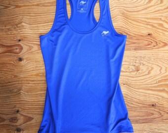 Runyon Women's Cobalt Elastic Yoga Tank Made In USA